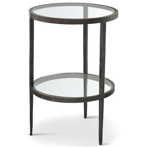 Stout Industrial Loft Double Glass Shelf Iron Brass Side End Table With Shelves
