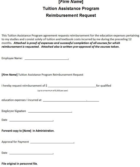 tuition reimbursement application template tuition assistance program reimbursement request