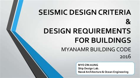 design criteria building seismic critera design requirements myanmar national