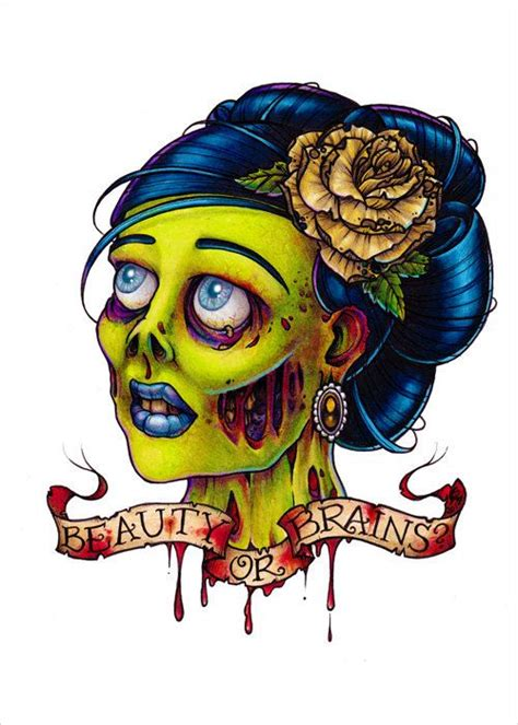 zombie pin up girl tattoos or brains pinup flash print by