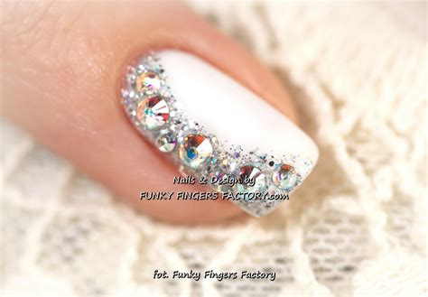 Gelish Wedding Nails With Swarovski Crystals Funky