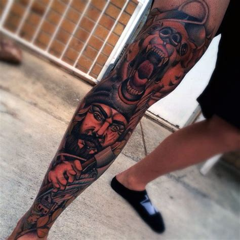 above knee tattoo 90 knee tattoos for cool masculine ink design ideas