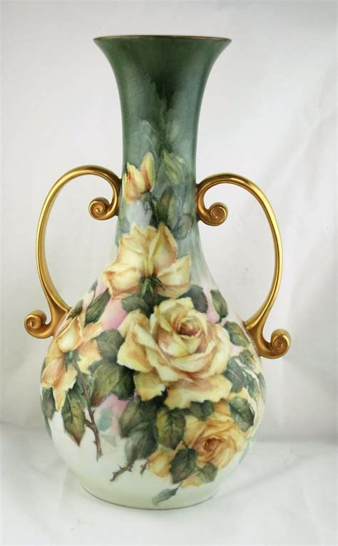 Painted Porcelain Vases by Painted Porcelain Vase With Roses By Margaret Surber