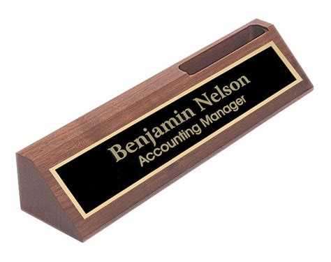 desk name plates office depot personalized walnut name plate bar w business card holder