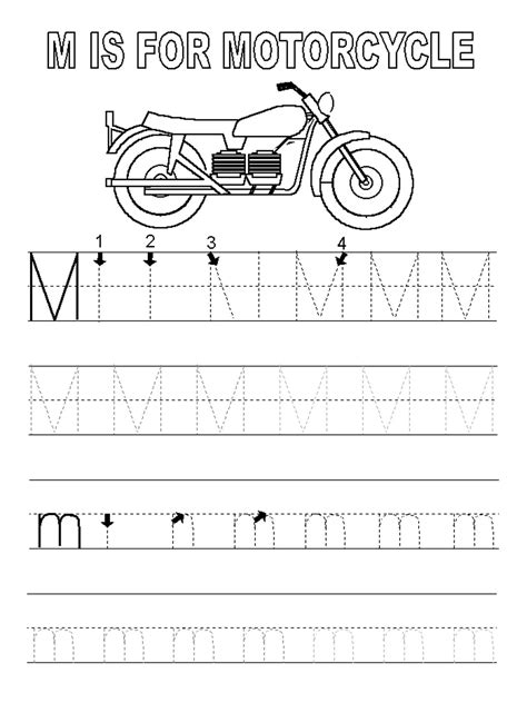 M Tracing Worksheet by Letter M Worksheets Activity Shelter