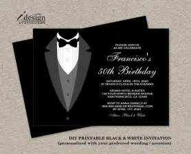 black and white birthday invitation with tuxedo printable all black birthday