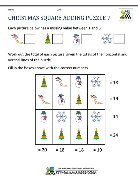 free printable holiday logic puzzles christmas math worksheets