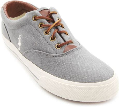 polo ralph vaughn grey canvas sneakers in gray for