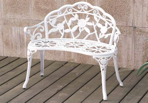 white patio bench outdoor patio garden park metal iron bench romace antique
