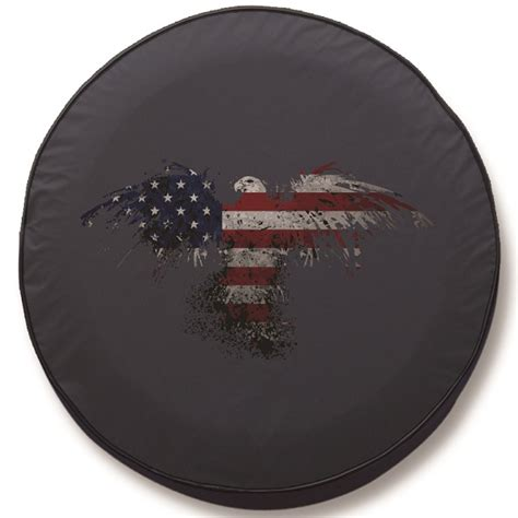 Is Jeep Tire Covers American Flag Eagle Outline Spare Tire Cover Black Vinyl