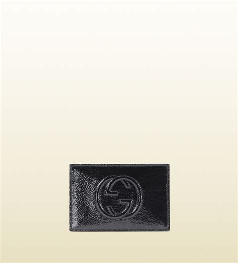 Gucci Envelope Embossed Wallet Gucci Soho Soft Patent Leather Envelope Card In Black