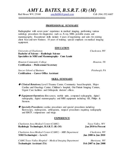 Mammography Resume by Bates Resume 2014