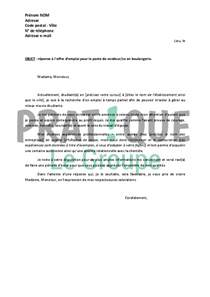 Lettre De Motivation En Tant Que Vendeuse Sans Experience Lettre De Motivation R 233 Ponse 224 Une Offre Employment Application