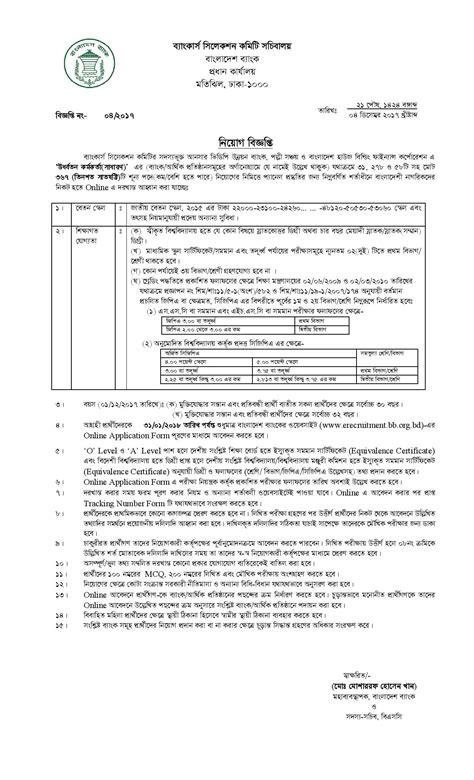 Bangladesh Bank New Circular 2018 Apply