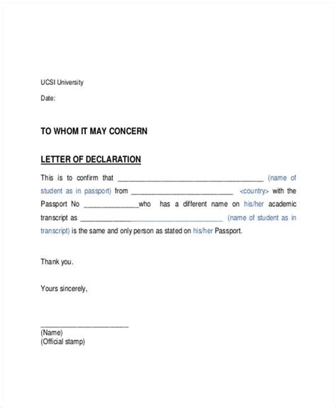 Exle Of A Formal Declaration Letter | gallery of declaration letter sle