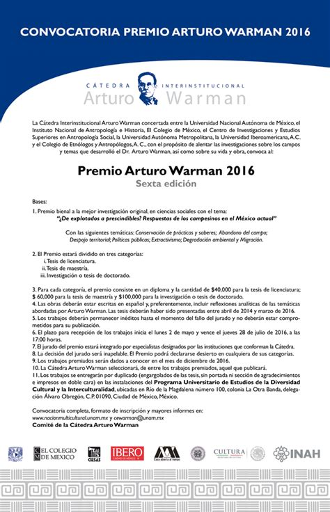 convocatoria en pela 2016 convocatoria premio arturo warman 2016 sociolog 237 a