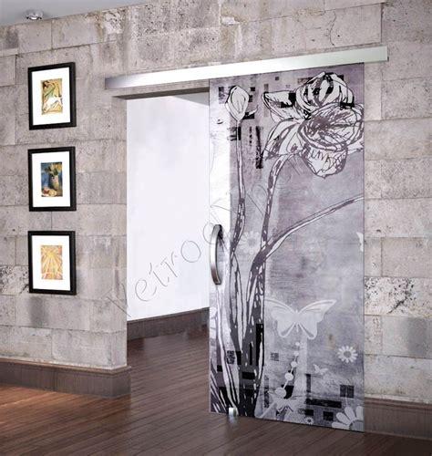 porta in vetro scorrevole porta scorrevole anta in vetro satinato con decoro ea