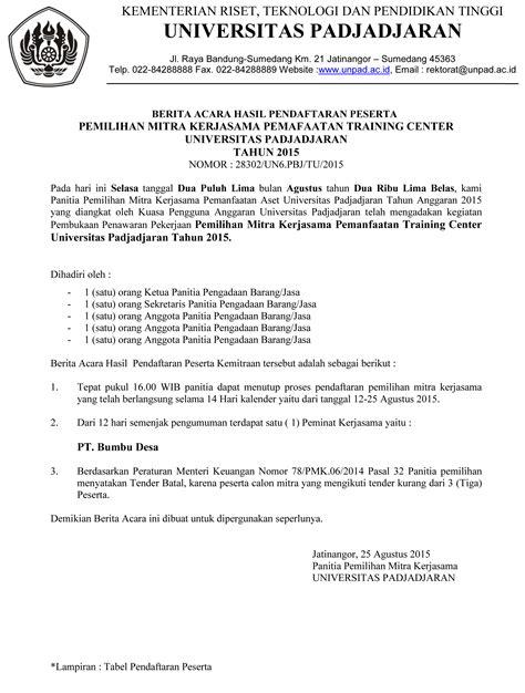 format berita acara kecelakaan kerja berita acara hasil pendaftaran peserta pemilihan mitra