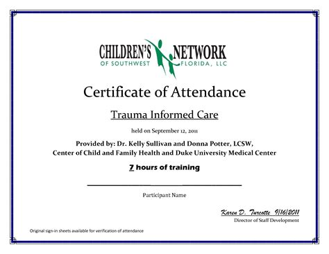 template for certificate of attendance nursing ceu certificate template