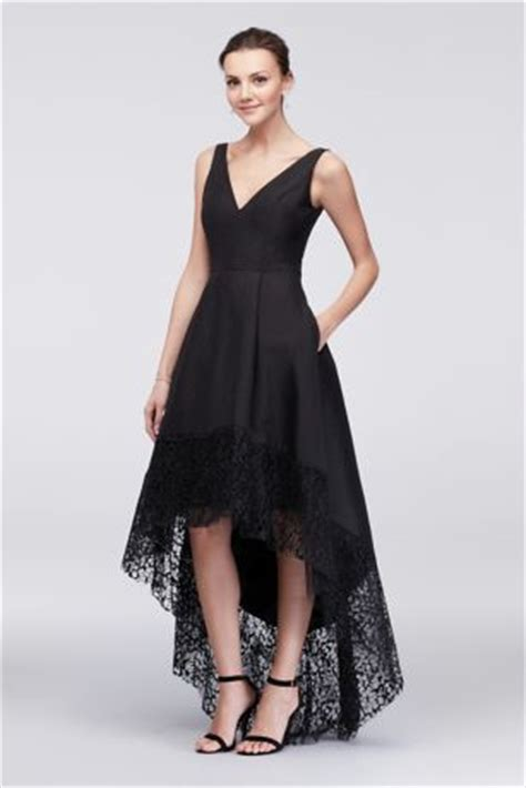 Hem Asia Black taffeta high low gown with wide lace hem david s bridal