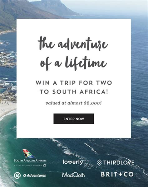 Discover South Africa Giveaway - you deserve a vacation to south africa enter to win brit co