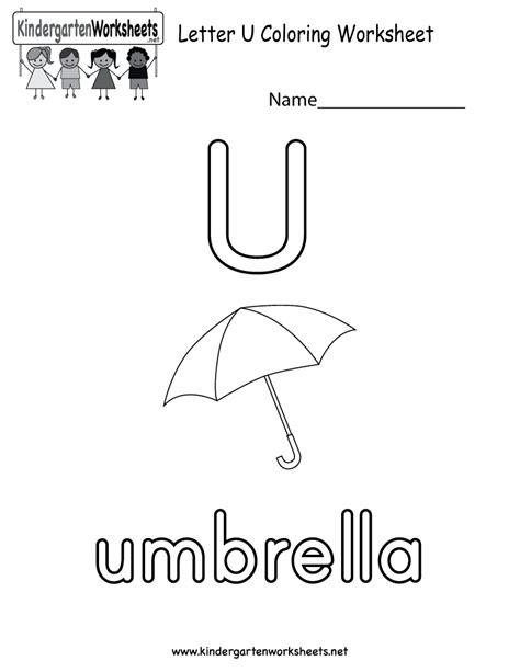 Letter U Worksheets by Free Printable Letter U Coloring Worksheet For Kindergarten