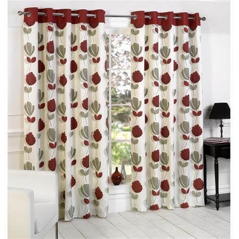 red and black floral curtains lotti modern floral print eyelet curtains cream red