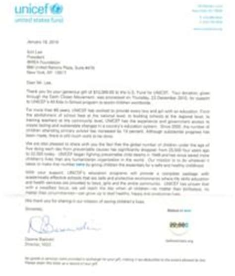 Thank You Letter United Nations International Brain Education Association Founded By Ilchi Donates 10 000 To Unicef