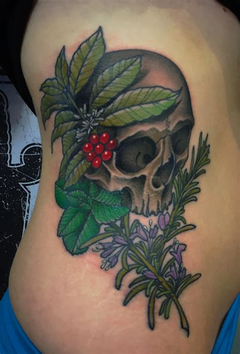 my first tattoo my skull botanicals by abel