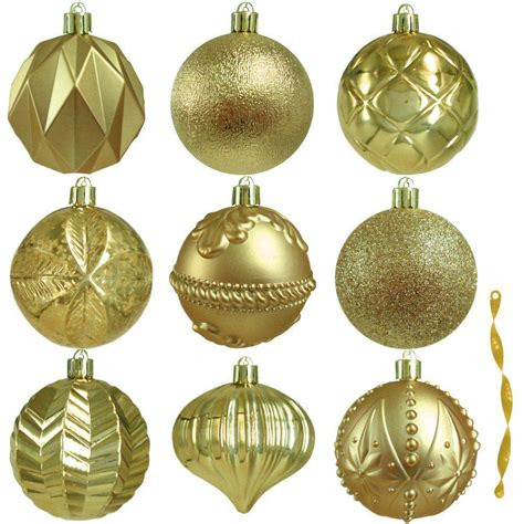 home decor ornaments home accents 80 mm assortment ornament in gold 75 count he 1454 the home depot