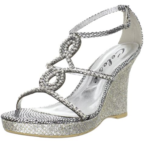 Silver Wedge Wedding Shoes by Celeste S Marisa 03 Silver Jeweled Wedge Sandals