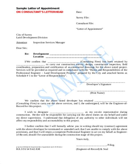 appointment letter for contractor appointment letter template 5 free word pdf