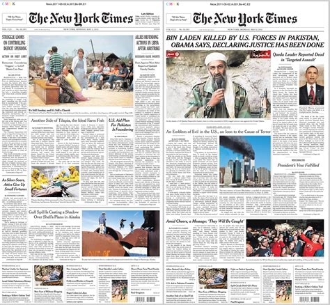 new york times front page newspaper the front page of the new york times before bin laden