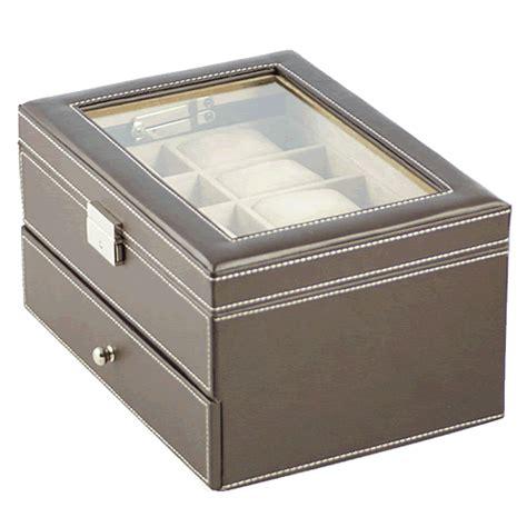 Decorative Display Cases brown leather twenty display box with