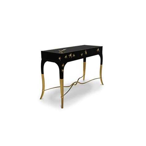 Black Gloss Console Table High Gloss Black Console Table With Polished Brass Base