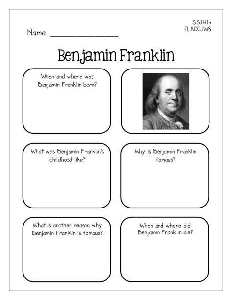 benjamin franklin biography worksheet famous americans graphic organizers