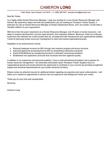 Cover Letter For In Human Resources Human Resources Manager Cover Letter Exles Human Resources Cover Letter Sles Livecareer
