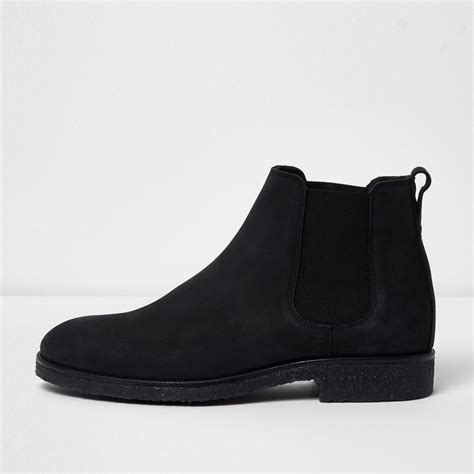 Island Shoes 2 river island black nubuck leather chelsea boots in black for lyst
