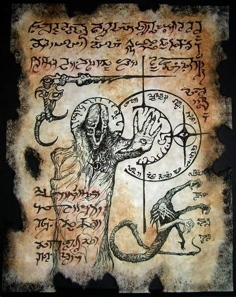 libro the occult witchcraft vile incantations cthulhu necronomicon page occult horror