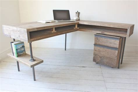Industrial Corner Desk Reclaimed Scaffolding Board Industrial Chic Corner L Shaped Desk With