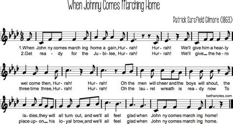 when johnny comes marching home beth s notes