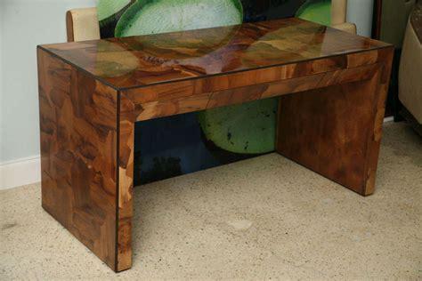 Patchwork Desk - a mid century modern walnut patchwork veneered desk at 1stdibs