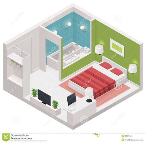 Simple Open Floor Plans vector isometric hotel room icon stock images image