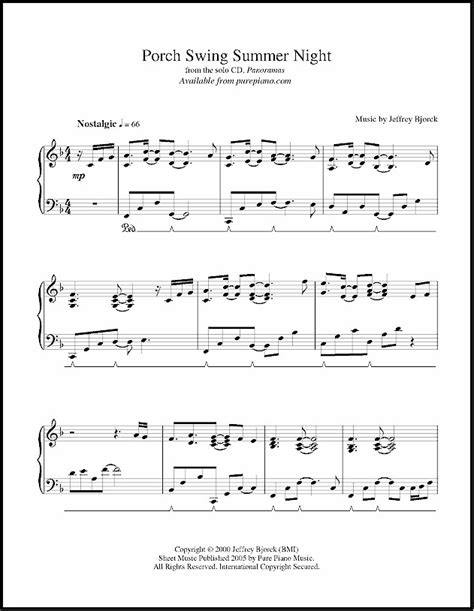 swing life away piano sheet music porch swing summer night