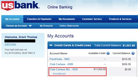 Success: US Bank Club Carlson Business Credit Card ... My Online Account