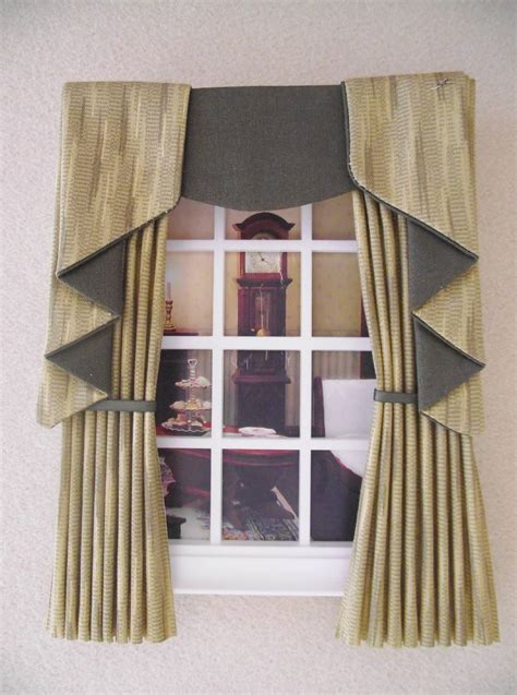 dolls house curtains miniature doll house curtains drapes with swag tail effect pelmet 12cm ebay