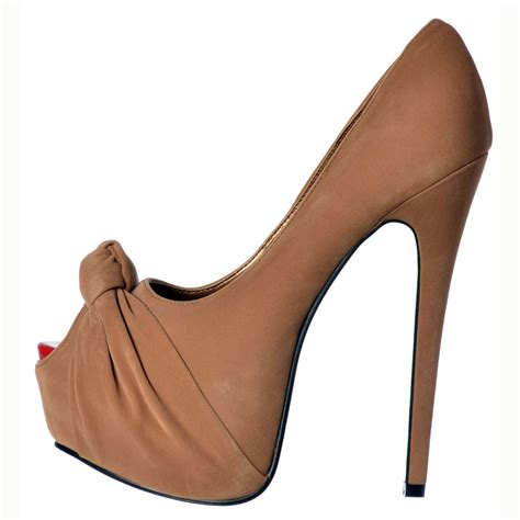 brown high heel shoes shoekandi suede peep toe stiletto concealed platform high
