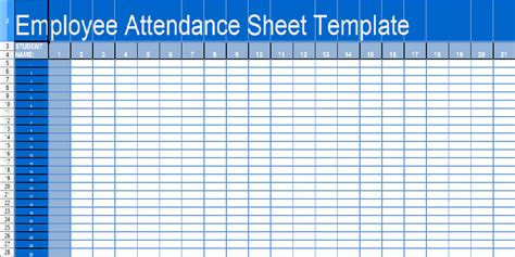 Attendance Template Great Printable Calendars Attendance Sheet Template
