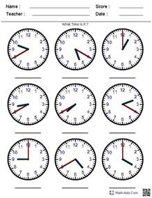generate random clock worksheets for pre k kindergarten