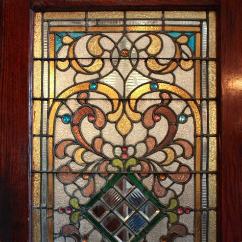 Stained Glass Door For Sale Large 38 Antique Oak Front Door With Jeweled Stained Glass 1800 S Ned124 For Sale Antiques